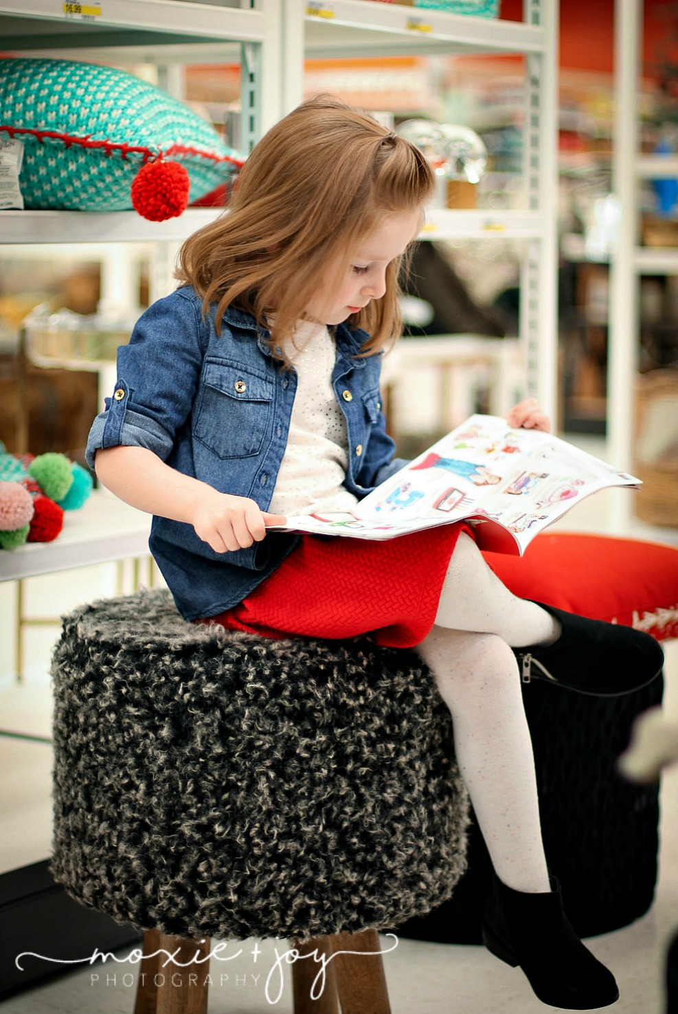 girl reading target ad